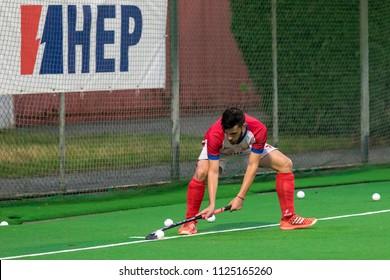 ZAGREB, CROATIA - JUNE 29, 2018: Hockey Series Open in Croatia 2018. Match between Croatia and Slovakia (6-1). Field Hockey players in action