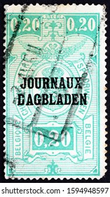 ZAGREB, CROATIA - JUNE 29, 2018: a stamp printed in the Belgium shows Coat of Arms, Parcel Post Stamp, circa 1929