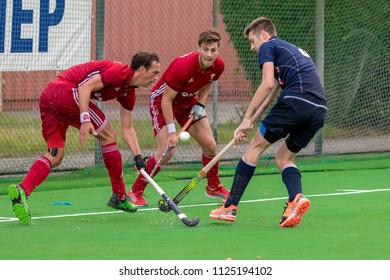 ZAGREB, CROATIA - JUNE 30, 2018: Hockey Series Open in Croatia 2018. Match between Wales and Croatia (9-0). Field Hockey players in action