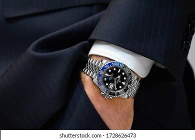 Zagreb, Croatia, June 6, 2019, Man Rolex GMT Master 2 Batman 126710BLNR .  Illustrative editorial.