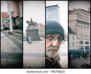 Zagreb, Croatia, The man on the Ban Jelacic Square, public space, tourist attractionblurred image, quadriptych,  Multilens effect