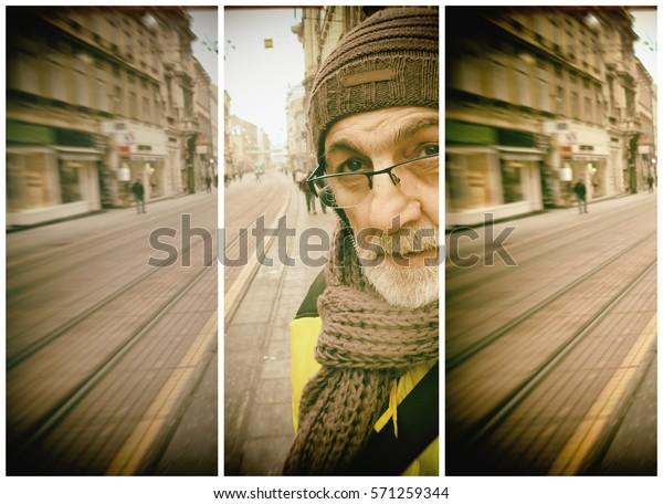 Zagreb Croatia Man Street Ilica Triptich Miscellaneous Stock Image 571259344