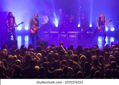 ZAGREB, CROATIA - MARCH 05, 2018: Swedish Symphonic Metal band Therion performing metal opera Beloved Antichrist.