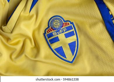 ZAGREB, CROATIA - MARCH 07, 2017. - Swedish football association emblem on football jersey.