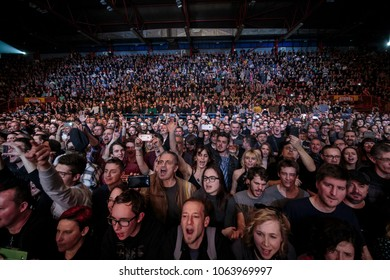 ZAGREB, CROATIA - MARCH 09, 2018: American rock band Toto on 40 Trips Around The Sun Tour. Audience on Toto band concert.