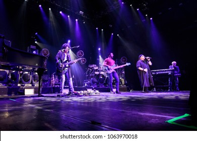 ZAGREB, CROATIA - MARCH 09, 2018: American rock band Toto on 40 Trips Around The Sun Tour. Toto band on stage.