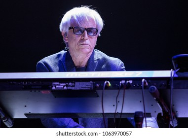 ZAGREB, CROATIA - MARCH 09, 2018: American rock band Toto on 40 Trips Around The Sun Tour. Steve Porcaro keyboardist, composer and original member of the rock band Toto