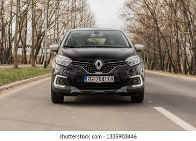 ZAGREB, CROATIA - MARCH 09, 2019: New Renault Captur 2019. model on the streets. Modern vehicle in urban environment. Front view of the car.