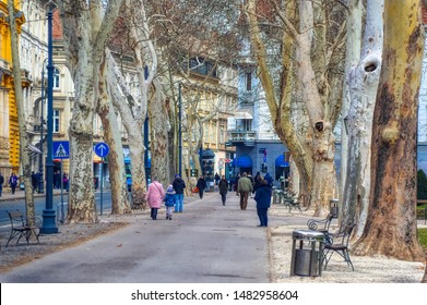 ZAGREB, CROATIA, march 10 2018: Daily scene of people and object from the streets of downtown Zagreb, Croatia.