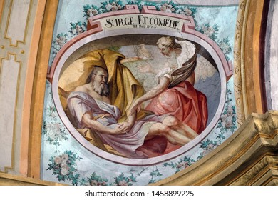 ZAGREB, CROATIA - MARCH 11: The Angel of the Lord Wakes Up Elijah, fresco on the ceiling of the Saint John the Baptist church in Zagreb, Croatia, on March 11, 2017.