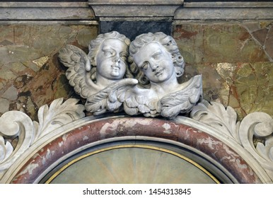 ZAGREB, CROATIA - MARCH 11: Angels, statue on the main altar in the Saint John the Baptist church in Zagreb, Croatia, on March 11, 2017.