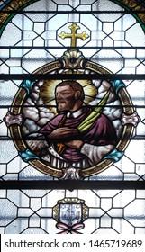 ZAGREB, CROATIA - MARCH 11: Saint Mark Krizin, stained glass window in the Saint John the Baptist church in Zagreb, Croatia, on March 11, 2017.