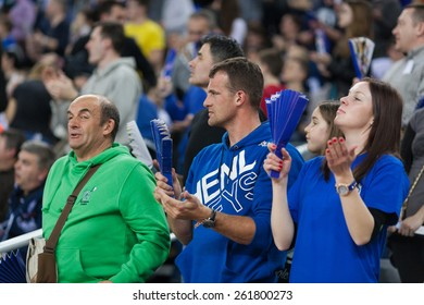 ZAGREB, CROATIA - MARCH 14, 2015: EHF Men's Champions League - last 16, match between HC Zagreb PPD and HC Kolding Copenhagen. Zagreb's supporters on the stand.