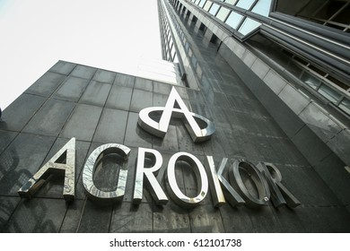 ZAGREB, CROATIA - MARCH 19, 2017 : Logo of Agrokor on the skyscraper Cibona owned by Agrokor concern in Zagreb. Agrokor is the biggest private Croatian company engaged in trade and food production.