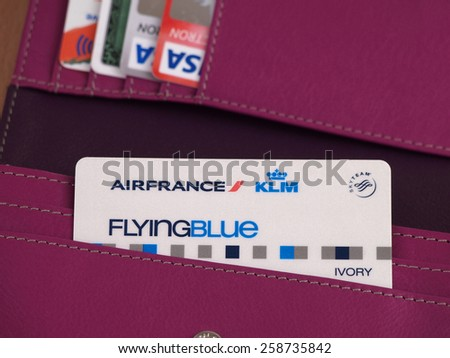 ZAGREB, CROATIA - MARCH 2, 2015: Photo of Air France - KLM card in wallet. Flying Blue, the frequent flyer program of Air France, awards members points based on miles travelled and class of service.