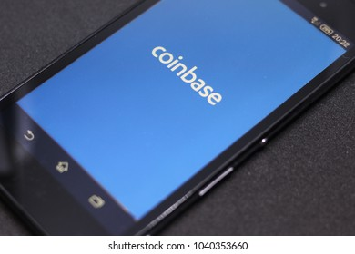 ZAGREB, CROATIA - MARCH , 2018: Coinbase android app on black background. Coinbase is a digital currency exchange.