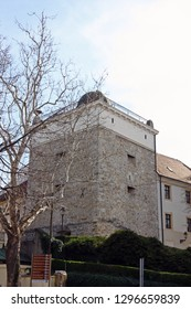 ZAGREB, CROATIA - MARCH 21, 2014: Priest's Tower, is preserved building of the defense system of Gradec, old part of Zagreb, from 13th Century, today is the astronomical observatory, Croatia