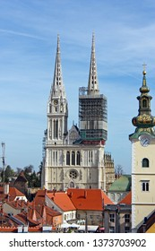 ZAGREB, CROATIA - MARCH 21, 2014: View of Cathedral of Assumption of the Blessed Virgin Mary in Zagreb, Croatia