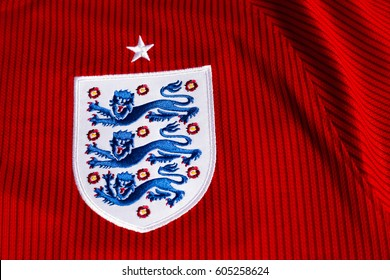 ZAGREB, CROATIA - MARCH 21, 2017. - English football association emblem on football jersey.