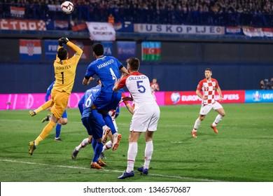 ZAGREB, CROATIA - MARCH 21, 2019: UEFA EURO 2020 Qualifying round, Group E. Croatia VS Azerbaijan. Salahat AGAYEV (1)boxing the ball