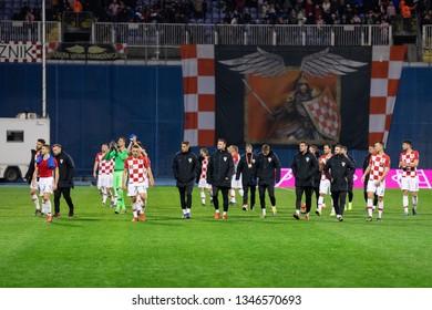 ZAGREB, CROATIA - MARCH 21, 2019: UEFA EURO 2020 Qualifying round, Group E. Croatia VS Azerbaijan. Croatian team after the match.