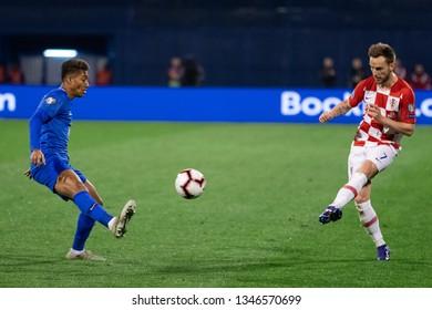 ZAGREB, CROATIA - MARCH 21, 2019: UEFA EURO 2020 Qualifying round, Group E. Croatia VS Azerbaijan. Ivan RAKITIC (7) and EDDY (14)