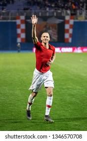 ZAGREB, CROATIA - MARCH 21, 2019: UEFA EURO 2020 Qualifying round, Group E. Croatia VS Azerbaijan. Domagoj VIDA (21)
