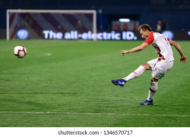 ZAGREB, CROATIA - MARCH 21, 2019: UEFA EURO 2020 Qualifying round, Group E. Croatia VS Azerbaijan. Ivan RAKITIC (7)
