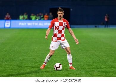 ZAGREB, CROATIA - MARCH 21, 2019: UEFA EURO 2020 Qualifying round, Group E. Croatia VS Azerbaijan. Andrej KRAMARIC (9)