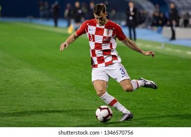 ZAGREB, CROATIA - MARCH 21, 2019: UEFA EURO 2020 Qualifying round, Group E. Croatia VS Azerbaijan. Borna BARISIC (3)