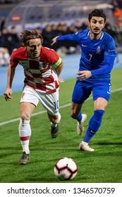 ZAGREB, CROATIA - MARCH 21, 2019: UEFA EURO 2020 Qualifying round, Group E. Croatia VS Azerbaijan. Luka MODRIC (10) and Araz ABDULLAYEV (7)