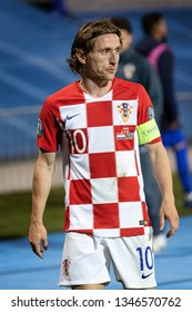 ZAGREB, CROATIA - MARCH 21, 2019: UEFA EURO 2020 Qualifying round, Group E. Croatia VS Azerbaijan. Luka MODRIC (10)