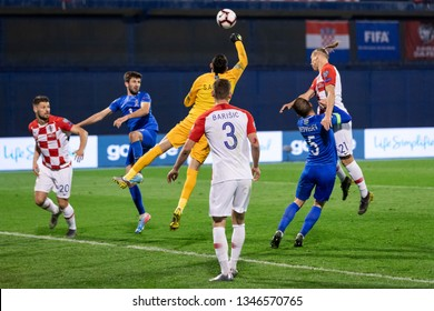 ZAGREB, CROATIA - MARCH 21, 2019: UEFA EURO 2020 Qualifying round, Group E. Croatia VS Azerbaijan. Salahat AGAYEV (1) boxing the ball
