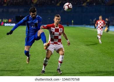 ZAGREB, CROATIA - MARCH 21, 2019: UEFA EURO 2020 Qualifying round, Group E. Croatia VS Azerbaijan. Ivan PERISIC (4) and Mahir MADATOV (10)