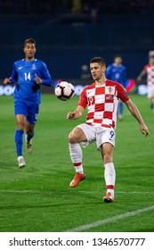 ZAGREB, CROATIA - MARCH 21, 2019: UEFA EURO 2020 Qualifying round, Group E. Croatia VS Azerbaijan. Andrej KRAMARIC (9) and EDDY (14)