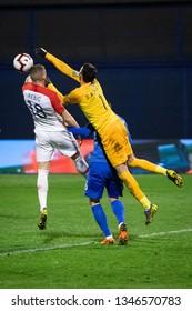 ZAGREB, CROATIA - MARCH 21, 2019: UEFA EURO 2020 Qualifying round, Group E. Croatia VS Azerbaijan. Ante REBIC (18) and Salahat AGAYEV (1)