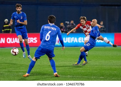 ZAGREB, CROATIA - MARCH 21, 2019: UEFA EURO 2020 Qualifying round, Group E. Croatia VS Azerbaijan. Luka MODRIC (10) shooting at goal