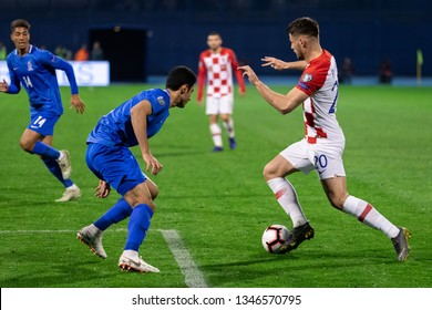 ZAGREB, CROATIA - MARCH 21, 2019: UEFA EURO 2020 Qualifying round, Group E. Croatia VS Azerbaijan. Bruno PETKOVIC (20)