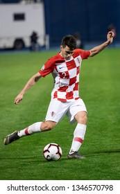 ZAGREB, CROATIA - MARCH 21, 2019: UEFA EURO 2020 Qualifying round, Group E. Croatia VS Azerbaijan. Josip BREKALO (2)
