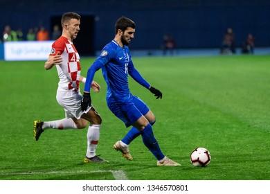 ZAGREB, CROATIA - MARCH 21, 2019: UEFA EURO 2020 Qualifying round, Group E. Croatia VS Azerbaijan. Mahir MADATOV (10) and Ivan PERISIC (4)
