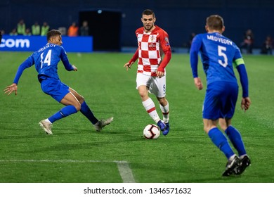 ZAGREB, CROATIA - MARCH 21, 2019: UEFA EURO 2020 Qualifying round, Group E. Croatia VS Azerbaijan. Mateo KOVACIC (8) and EDDY (14)