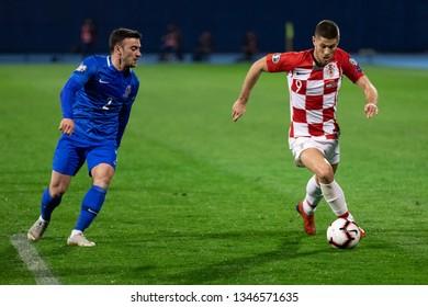 ZAGREB, CROATIA - MARCH 21, 2019: UEFA EURO 2020 Qualifying round, Group E. Croatia VS Azerbaijan. Andrej KRAMARIC (9) and Gara GARAYEV (2)