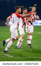 ZAGREB, CROATIA - MARCH 21, 2019: UEFA EURO 2020 Qualifying round, Group E. Croatia VS Azerbaijan. Croatian players celebrating goal.