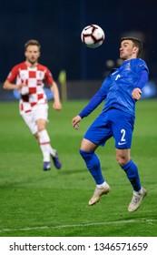 ZAGREB, CROATIA - MARCH 21, 2019: UEFA EURO 2020 Qualifying round, Group E. Croatia VS Azerbaijan. Gara GARAYEV (2)