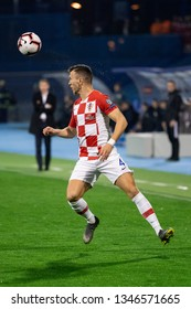 ZAGREB, CROATIA - MARCH 21, 2019: UEFA EURO 2020 Qualifying round, Group E. Croatia VS Azerbaijan. Ivan PERISIC (4)