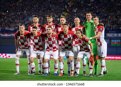 ZAGREB, CROATIA - MARCH 21, 2019: UEFA EURO 2020 Qualifying round, Group E. Croatia VS Azerbaijan. Croatian team group photo.