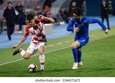 ZAGREB, CROATIA - MARCH 21, 2019: UEFA EURO 2020 Qualifying round, Group E. Croatia VS Azerbaijan. Josip BREKALO (2) and Araz ABDULLAYEV (7)