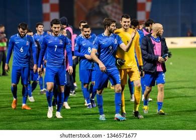 ZAGREB, CROATIA - MARCH 21, 2019: UEFA EURO 2020 Qualifying round, Group E. Croatia VS Azerbaijan. Azerbaijan team after the match.