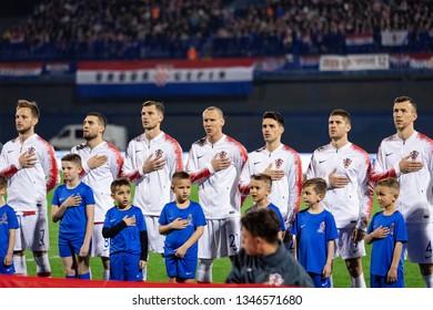 ZAGREB, CROATIA - MARCH 21, 2019: UEFA EURO 2020 Qualifying round, Group E. Croatia VS Azerbaijan. Croatian players during national anthem.