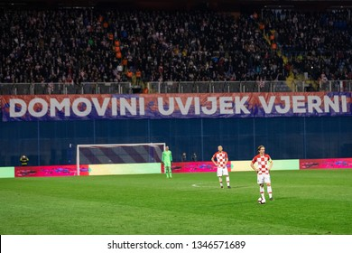 ZAGREB, CROATIA - MARCH 21, 2019: UEFA EURO 2020 Qualifying round, Group E. Croatia VS Azerbaijan. Luka MODRIC (10) with supporters in the background